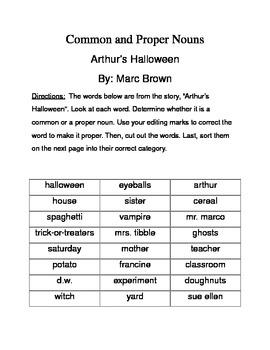 Common and Proper Noun word sort using Arthur's Halloween