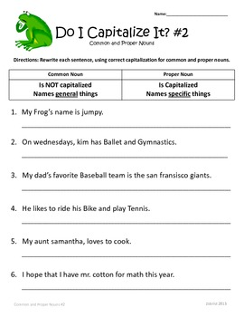 Common and Proper Nouns: 1st, 2nd, 3rd Grade Common Core Practice Packet