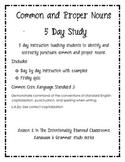 Common and Proper Nouns 5 Day Study
