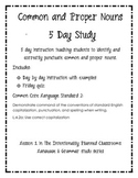 Common and Proper Nouns 5 Day Study