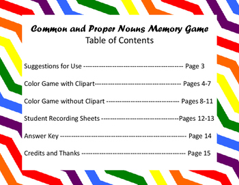 Common and Proper Nouns Memory Game