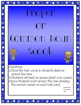 Common and Proper Nouns Mini Unit with Study Guide and Scoot Game