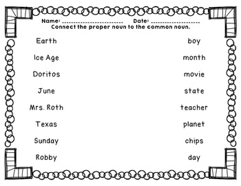 Common and Proper Nouns PPT and Printables
