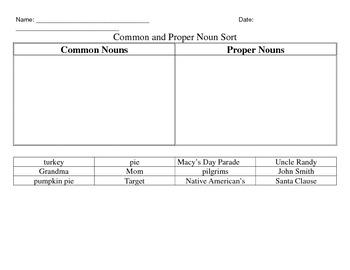 Common and Proper Nouns Practice Bundle Thanksgiving