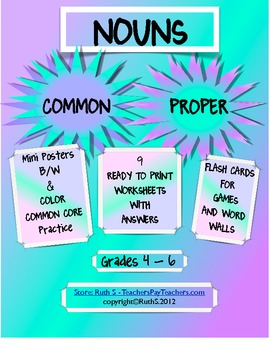 Common and Proper Nouns Practice for the Common Core