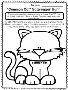 Common and Proper Nouns - Print and Go Unit