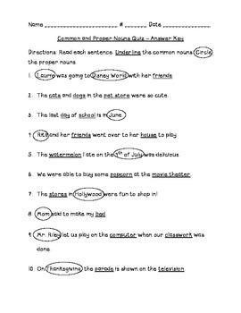 Common and Proper Nouns Quiz