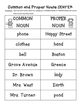 Common and Proper Nouns Sorting Center and Recording Sheet #2