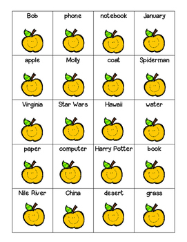 Common and Proper Nouns Sorting Center, Recording Sheet and Practice Worksheet