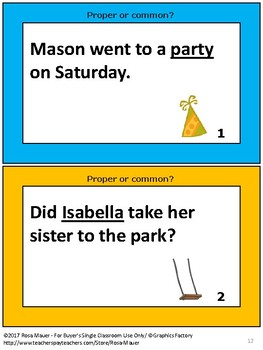 Proper and Common Noun Task Cards