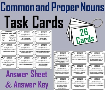 Common and Proper Nouns Task Cards 2nd 3rd 4th 5th Grade