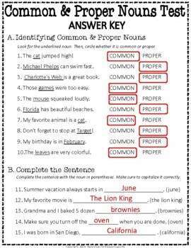 Common and Proper Nouns Test: 2-Page Noun Quiz with Answer Key