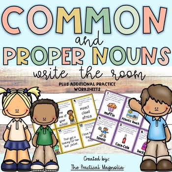 Common and Proper Nouns Worksheets and Task Cards