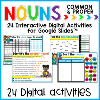Common and Proper Nouns for Google Slides Paperless Digital Activities