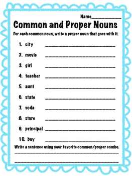 Common and Proper Nouns worksheet bundle