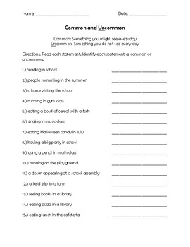 Common and Uncommon Worksheet