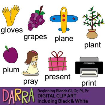 Common blends clip art (word families, phonics clipart) beginning gl, gr, pl, pr