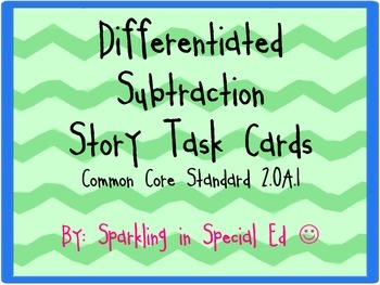 Common core differentiated subtraction stories