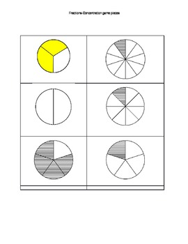 Common core fraction concentration game-for first grade