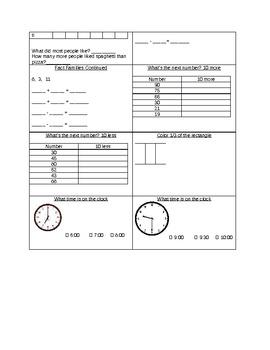 Common core math boxes-1st grade