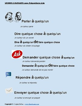 FREE - 18 Common french verbs with prepositions