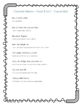 Common idioms - learning activities