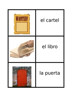 Common objects in Spanish Concentration games