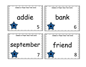 Common or Proper Noun Task Cards (Easy to Read)