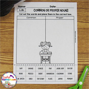 Common Or Proper Nouns Cut And Paste Worksheet By Teacher