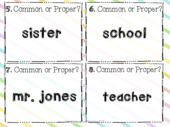 Common or Proper Nouns SCOOT! Game, Task Cards or Assessment