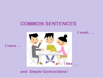 Common sentences in English with 'have', 'like', 'want' and Simple Contractions.