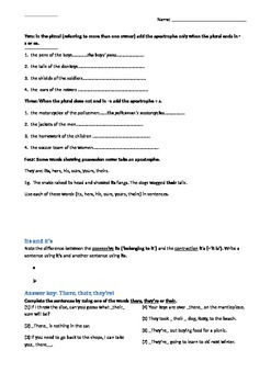 Common spell. errors worksheet: 3x there, possessive apostrophes, tricky plurals