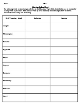 Common vocabulary words found on the ELA Exam worksheet 1