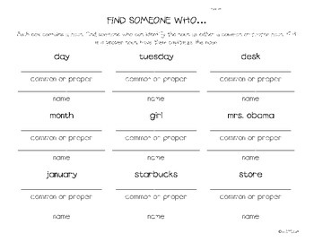 Common vs Proper Noun Find Someone Who
