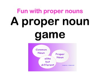 Common vs. Proper Noun Game