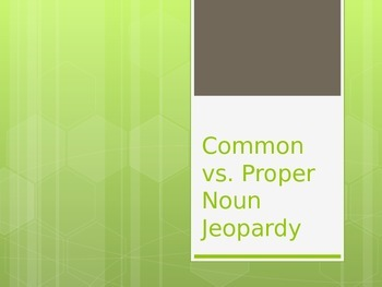 Common vs. Proper Noun Jeopardy