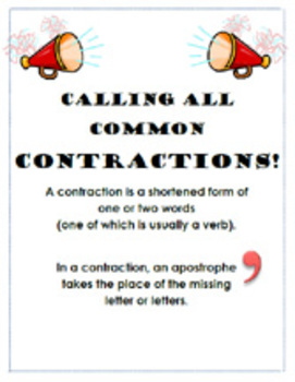 Common Contractions - Pages/Posters