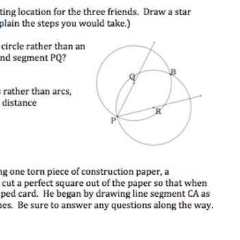CommonCore Geometry Practice/Activities (Constructions & Basics G.CO.1, 12 & 13)