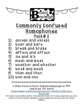 Commonly Confused Homophones 10 Pack #2