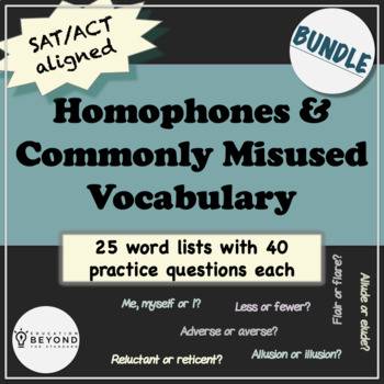 Homophones & Frequently Confused Vocabulary Words-BUNDLE-250 Word Pairs/Groups