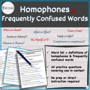Homophones & Frequently Confused Vocabulary Words - List #1, word pairs 1-10
