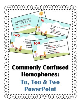 Commonly Confused PowerPoint Homophones Two Too and To
