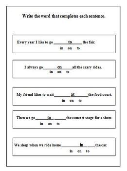 Commonly Confused Prepositions- Worksheets- No Prep