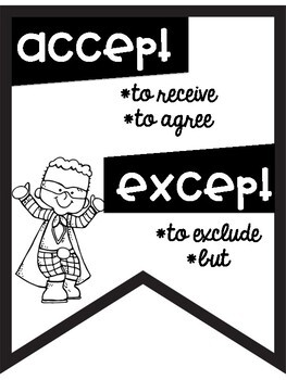 Commonly Confused Words Anchor Charts ~Black & White Posters~ Superhero Theme
