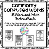 Commonly Confused Words Anchor Charts ~Black & White Posters~ for easy printing