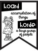 Commonly Confused Words Banners ~Black & White Posters~ Friendly Monster Theme