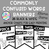 Commonly Confused Words Banners ~Black & White Posters~ Llama AlpacaTheme