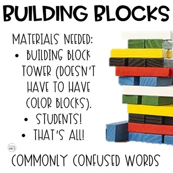 Commonly Confused Words Building Blocks Game