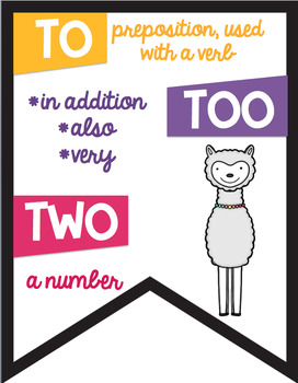 26 Commonly Confused Words Colored Banners Posters  Llama Alpaca Theme