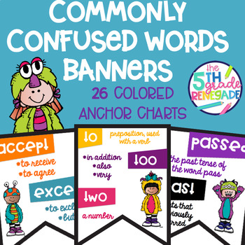 Commonly Confused Words Colored Anchor Charts with a Friendly Monster Theme